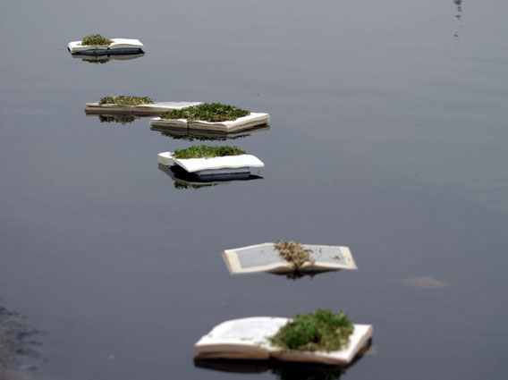 Selina Swayne - Various book installations in The Floating Exhibition, Serpentine Pond, London 2006